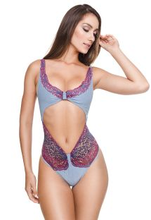 Luxurious sexy one-piece swimsuit with embroidery - EVE OP ARGENTO