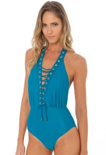 Laced blue 1 piece swimsuit with eyelets - EYELET OP TOURMALINE