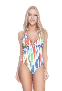 Luxurious halter one-piece swimsuit with a colorful print - FROU FROU OP PAINTING