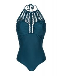 Deep blue 1-piece withmacramé bustier - INDIGO GLAM