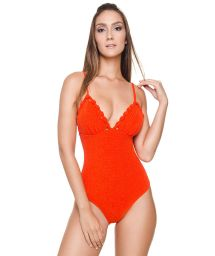 Luxurious orange textured plunging one-piece swimsuit - LINDA OP TANGERINE TANGO