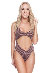 Sexy luxury textured brown and white one-piece swimsuit - LIV OP RIBBED BROWNIE