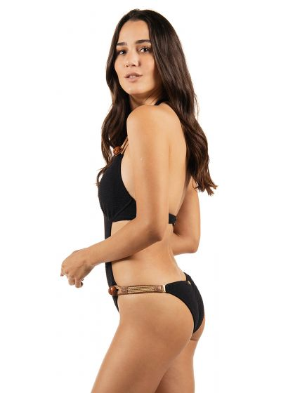 Luxurious black textured trikini with leather details and buttons - LIVIN' LA VIDA LOCA BLACK
