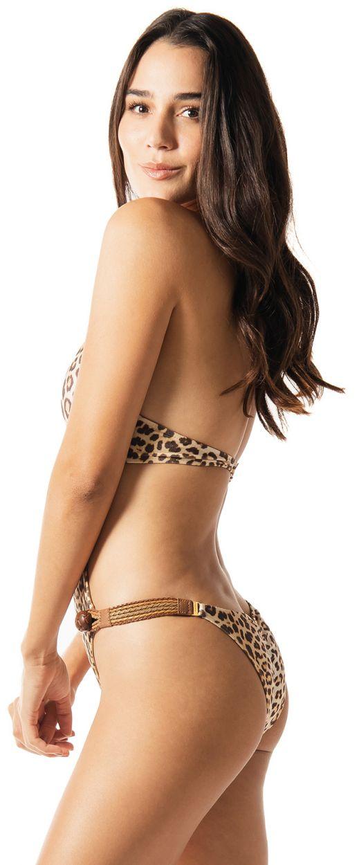 Luxurious leopard trikini with leather details and buttons - LIVIN LA VIDA LOCA WAKA WAKA