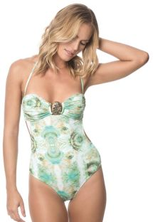 One-piece bandeau bathing suit with printed green shells - MALDIVAS ABALONE