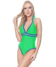 Flashy green one-piece swimsuit with zigzag stripes - NEW AFRODITE OP MINT