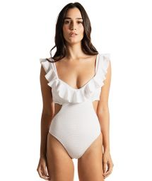Luxurious white textured ruffled one-piece swimsuit - PAROLE PAROLE WHITE