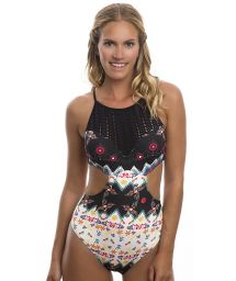 Bi-material trikini featuring a fun print and crochet - POOL SIDE