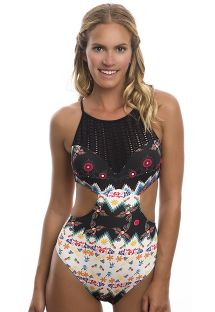 Monokini, 2 materialen, gehaakt & leuke print - POOL SIDE