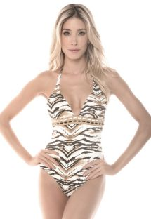 Animal-print one-piece bathing suit, plunging neckline - SAVANNAH CHARMING