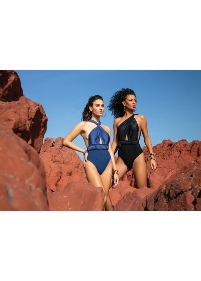 Maillot 1 pièce bleu marine luxe multipositions - SHE AEGEAN
