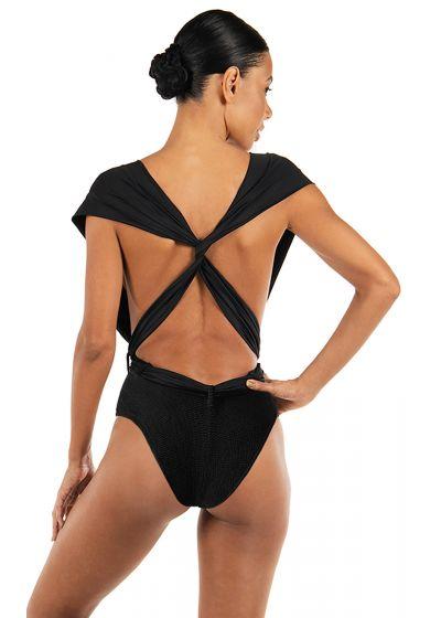 Luxurious black multi-way one-piece swimsuit - SHE BLACK