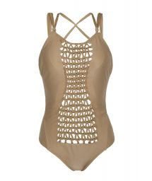 Gold one-piece bathing suit with macramé front - SUNTAN DAZZLING