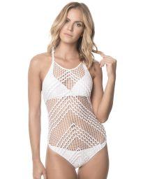 Whitemacramé one-piece bathing suit - WHITE ALAMBRADO