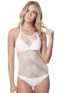 Biały, jednoczęściowy strój kąpielowy z makramy - WHITE ALAMBRADO