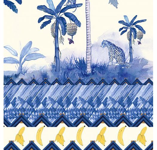 Ausgeschnittener Badeanzug, weiß, Palmenmotiv - DECOTE V PALMEIRA