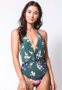 Green one-piece swimsuit in flowers and lemons - MAIO TORCIDO GIARDINO