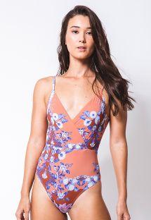 Orange one-piece swimsuit in flower print - TRANSPASSE LAGOSTA
