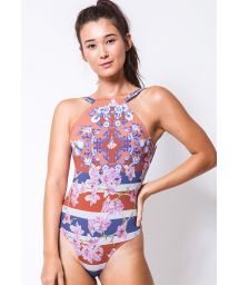 One-piece high-neck swimsuit in stripes and flowers - UNICA BOUGAINVILLE LISTRA