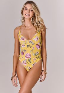 Yellow floral one-piece swimsuit with laced back - BODY STRING FLOWER AMARELO