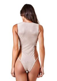 Two-material nude suedette and transparent bodysuit - BODY KIM NUDE