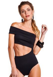 Original black one-piece swimsuit with bare shoulders - BODY OFF SHOULDER PRETO