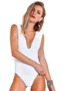 One-piece white swimsuit with plunging lace neckline - BODY SAHARA BRANCO