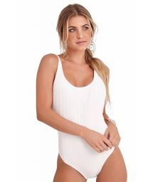One-piece white textured swimsuit with adjustable straps - BODY SIDE BOOB