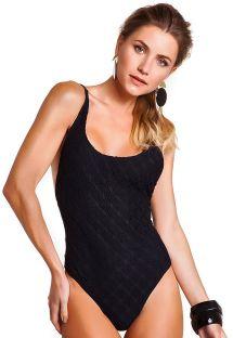 Black one-piece low-cut crochet swimsuit - BODY SIDE BOOB HEXA PRETO