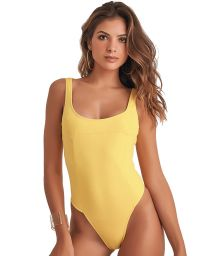 Yellow one-piece swimsuit with a zipper on the back - BODY ZIP LUMINOSO