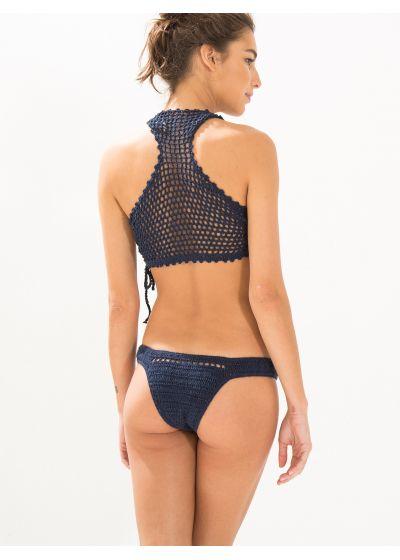 Navy blue crochet trikini, racer back - HIPPIE CROCHET AZUL