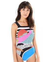 Geometric abstract printed one-piece swimsuit - MAIO TROPICALOCO