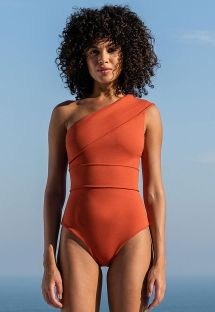 One shoulder asymmetrical one-piece swimsuit brick color - CREPE MARIA MAILLOT RUSTED