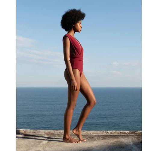 Burgundy tricot knit swimsuit deep V neckline - MAIO V CREPE GRENAT