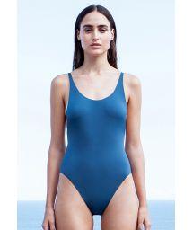Blue one-piece swimsuit slim straps - ALCINHA AZUL PASSARO