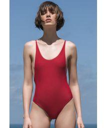 Red one-piece swimsuit slim straps - ALCINHA PITANGA