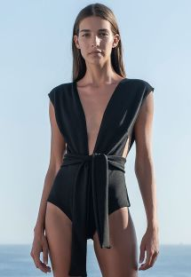 Black plunging one-piece swimsuit with waistband - CREPE V MAILLOT PRETO