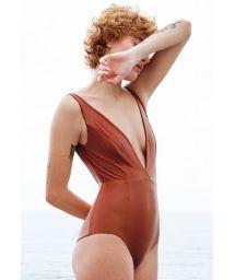 Reversible mocca / black one piece swimsuit - FERNANDA DOUBLE MOCCA PRETO