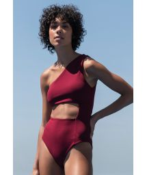 Burgundy one-shoulder swimsuit with cutouts - MAIÔ MONICA GRENAT