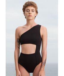 Black one-shoulder swimsuit with cutouts - MAIÔ MONICA PRETO