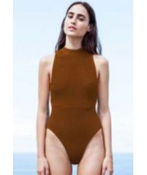 Caramel tricot knit one-piece high-neck swimsuit - MAIÔ TRICOT KATE CARAMELO