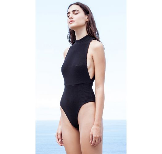 7738212aaaf8e Black tricot knit one-piece high-neck swimsuit - MAIÔ TRICOT KATE PRETO