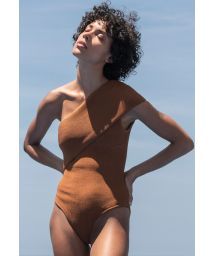 Caramel tricot knit asymmetric one-piece swimsuit - MAIÔ TRICOT TEP CARAMELO