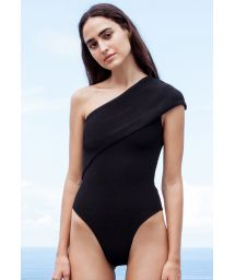 Black tricot knit asymmetric one-piece swimsuit - MAIÔ TRICOT TEP PRETO