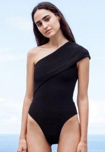 Hel, asymmetrisk svart baddräkt, texturerat tyg - MAIÔ TRICOT TEP PRETO