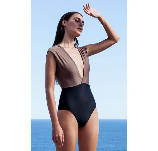 feinste Stoffe Sonderangebot Rabatt-Verkauf Luxus-badeanzug Ausgeschnitten, Taupe/schwarz - MaiÔ V Lycra Castanho &  Preto