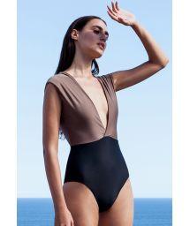 Taupe / black plunging one-piece swimsuit - MAIÔ V LYCRA CASTANHO AND PRETO