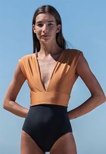Copper / black deep V neckline swimsuit with a waistband - MAIÔ V LYCRA COBRE/PRETO