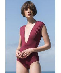 Luxurious deep V neckline burgundy swimsuit - MAIÔ V LYCRA GRENAT