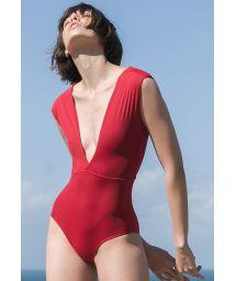 Maillot de bain luxe décolleté plongeant rouge - MAIÔ V LYCRA PITANGA